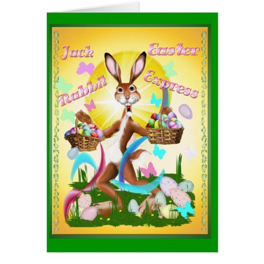 Jack Rabbit Express Easter-text Note Card