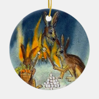 Jack Rabbits Camp Out Ceramic Ornament