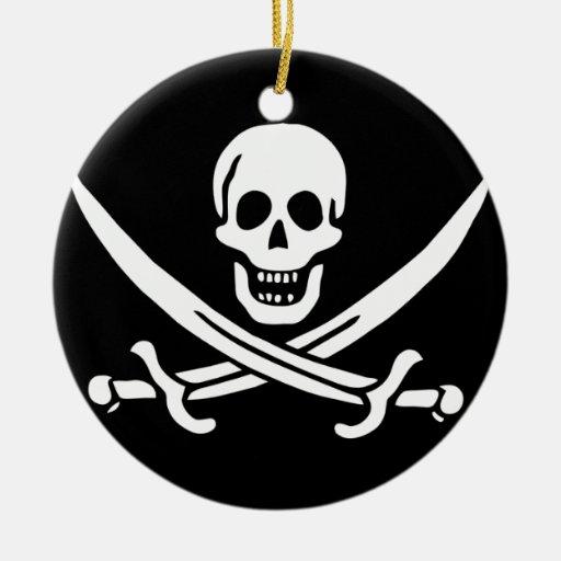 Jack Rackham; Bandera alegre de Rogelio; Pirata Adorno Navideño Redondo De Cerámica