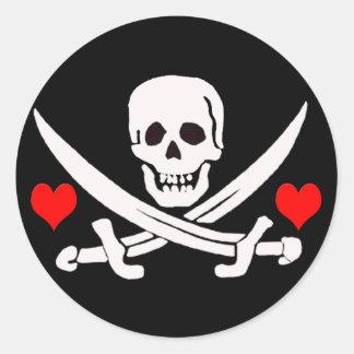 Jack-Rackham-Hearts Classic Round Sticker