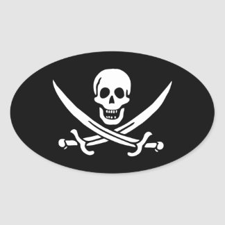 Jack Rackham; Jolly Roger Flag; Pirate Oval Sticker
