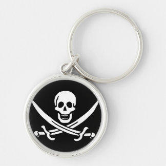 Jack Rackham; Jolly Roger Flag; Pirate Silver-Colored Round Keychain