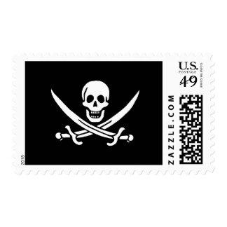 Jack Rackham; Jolly Roger Flag; Pirate Stamp