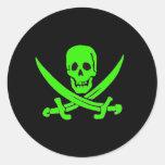 Jack Rackham-Verde Pegatina Redonda