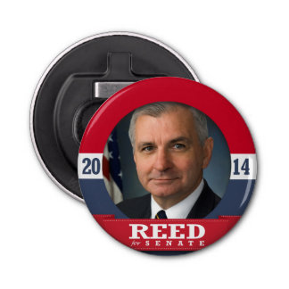 JACK REED CAMPAIGN BUTTON BOTTLE OPENER
