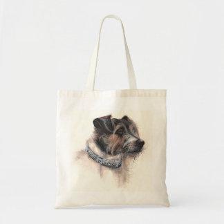 Jack Rusell Terrier Painted in Watercolour Tote Bags