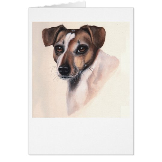 Jack Rusell Terrier Painted in Watercolour Card