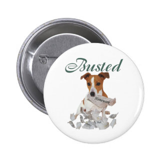 Jack Russel Busted Pinback Button