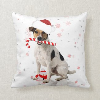 Jack Russel Dog Christmas Holiday Pillow