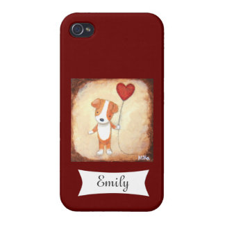 Jack Russel Terrier with Heart Personalize Name Cover For iPhone 4