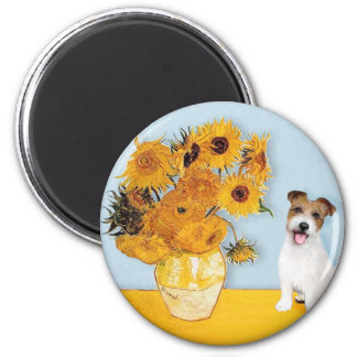Jack Russell 11 - Sunflowers 2 Inch Round Magnet