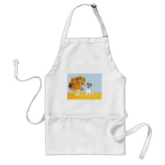 Jack Russell 11 - Sunflowers Adult Apron