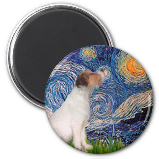 Jack Russell 5 - Starry Night 2 Inch Round Magnet