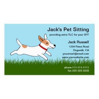 Jack Russell Cartoon Dog Runs on Grass - Pet Care Business Card