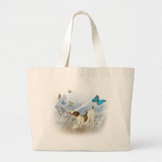 Jack Russell Chases Butterflies Large Tote Bag