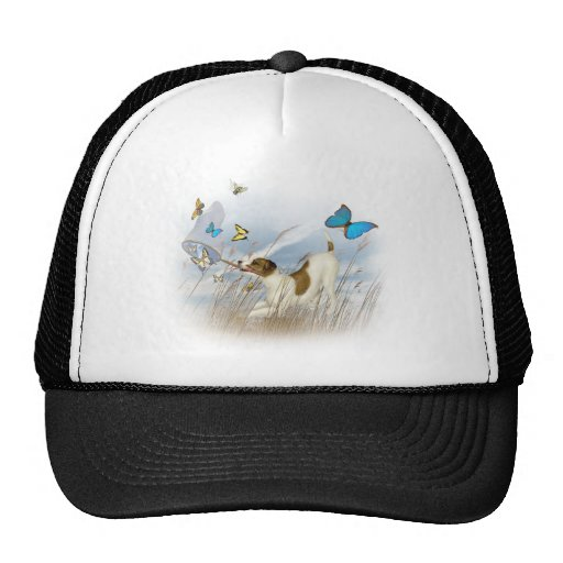 Jack Russell Chases Butterflies Mesh Hats