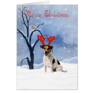 jack russell christmas card - bulldog has reindeer