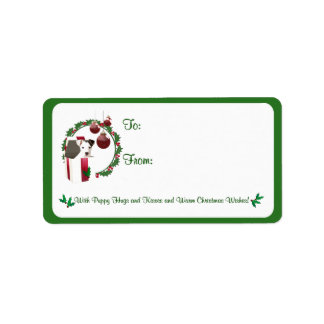Jack Russell Christmas Wishes Gift Tag Stickers Custom Address Label