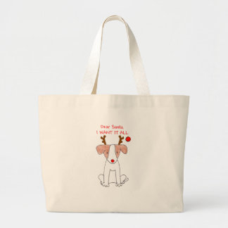 Jack Russell Dear Santa Large Tote Bag