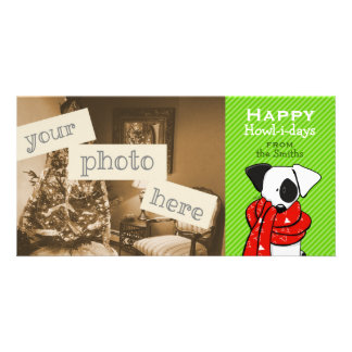 Jack Russell Dog Christmas Green Stripe Personalized Photo Card