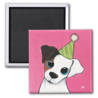 Jack Russell Dog in a Party Hat 2 Inch Square Magnet