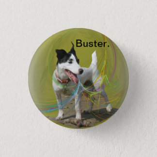Jack Russell dog on a swirled coloured background. Pinback Button