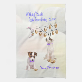 Jack Russell Eggs -Traordinary Easter Wishes Hand Towels