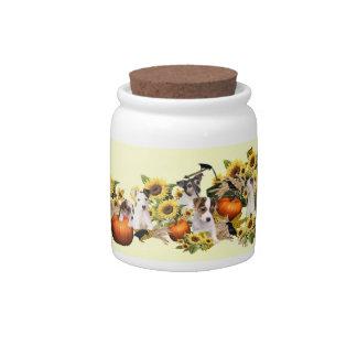 Jack Russell Fall Harvest Porcelain Candy Jar