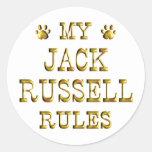 Jack Russell gobierna el oro Pegatina Redonda