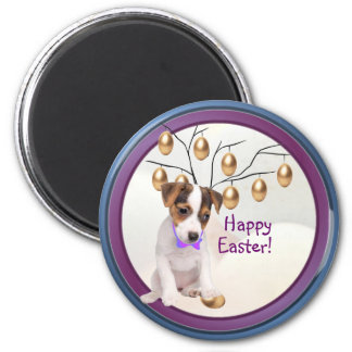 Jack Russell Happy Easter Gold Easter Egg Design 2 Inch Round Magnet