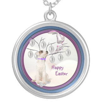 Jack Russell Happy Easter Silver Easter Egg Design Round Pendant Necklace