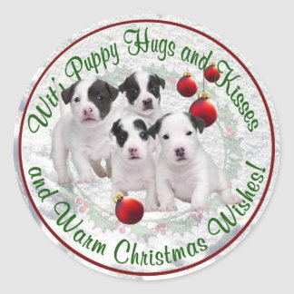 Jack Russell Hugs Kisses and Warm Christmas Wishes Classic Round Sticker