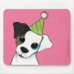 Jack Russell in a Party Hat | Dog Art Mouse Pads