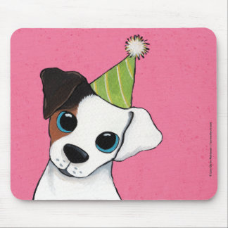 Jack Russell in a Party Hat | Dog Art Mouse Pad