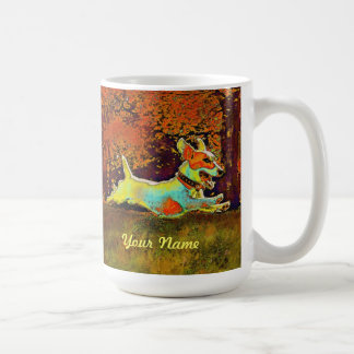 jack russell in autumn mug