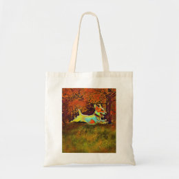 jack russell in autumn tote bag