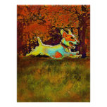 jack russell in autumn woods poster