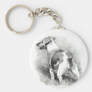 JACK RUSSELL IN PENCIL BASIC ROUND BUTTON KEYCHAIN