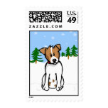 Jack Russell in Snow Stamp