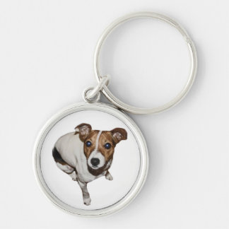Jack Russell Keyring Silver-Colored Round Keychain