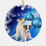 Jack Russell Let It Snow Holiday Greeting Ornament