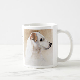Jack Russell mug with breed information text