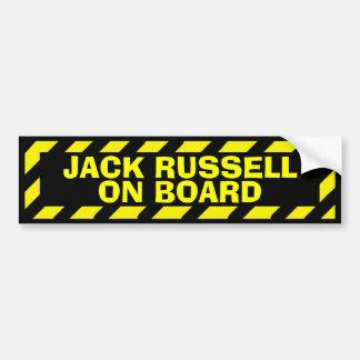 Jack Russell on board yellow caution sticker Car Bumper Sticker