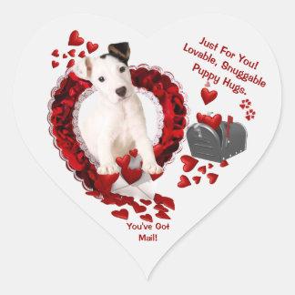 Jack Russell Original Puppy - You've Got Mail! #2 Heart Sticker
