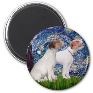 Jack Russell Pair 4 - Starry Night 2 Inch Round Magnet