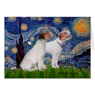Jack Russell Pair 4 - Starry Night Card