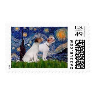 Jack Russell Pair 4 - Starry Night Postage
