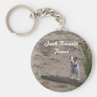 Jack Russell Power Basic Round Button Keychain