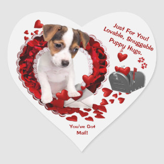 Jack Russell Puppy #1 You've Got Mail! 2nd Version Heart Sticker