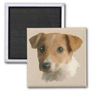 Jack Russell Puppy 2 Inch Square Magnet
